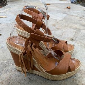 Valentino Brown Leather Wedges